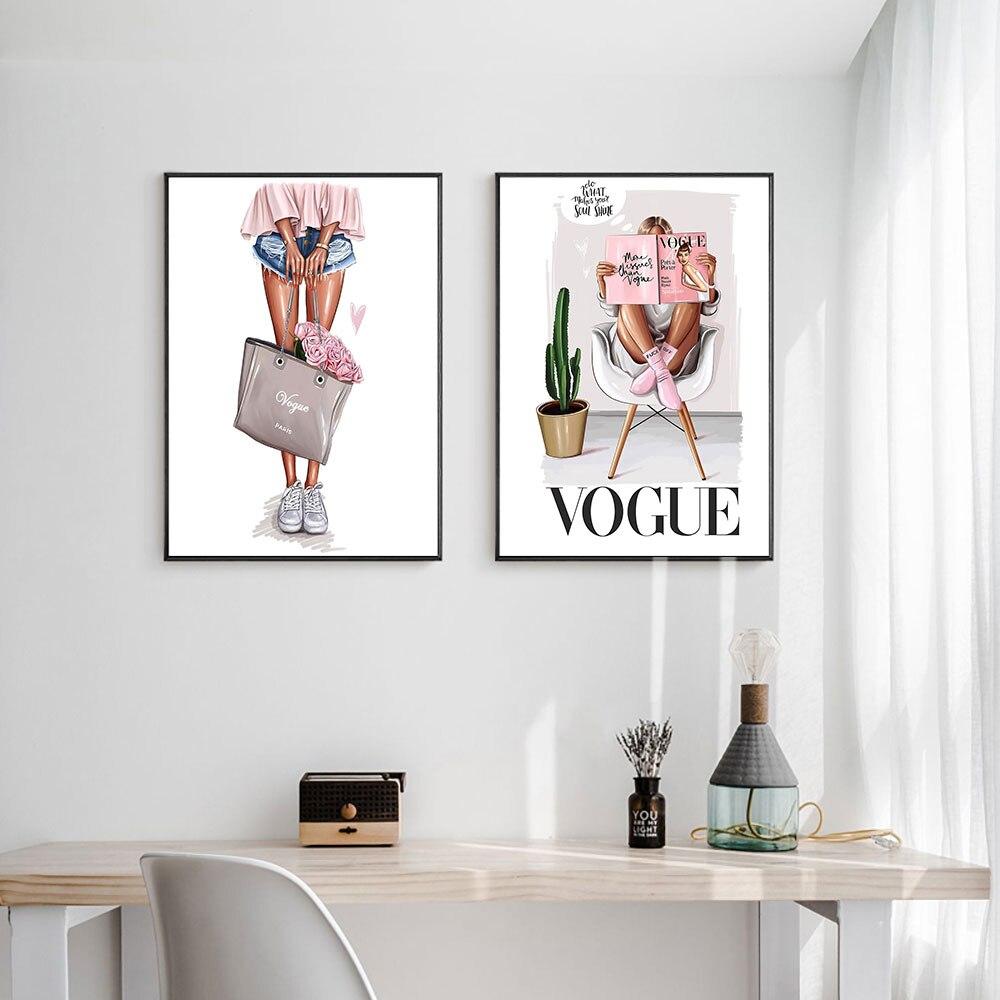 Nórdico Voga Impressão Da Menina Da Forma com Saco de Arte Da Parede Da Lona Poster Menina Imagem Decoração Pintura Sala Decor Unframed