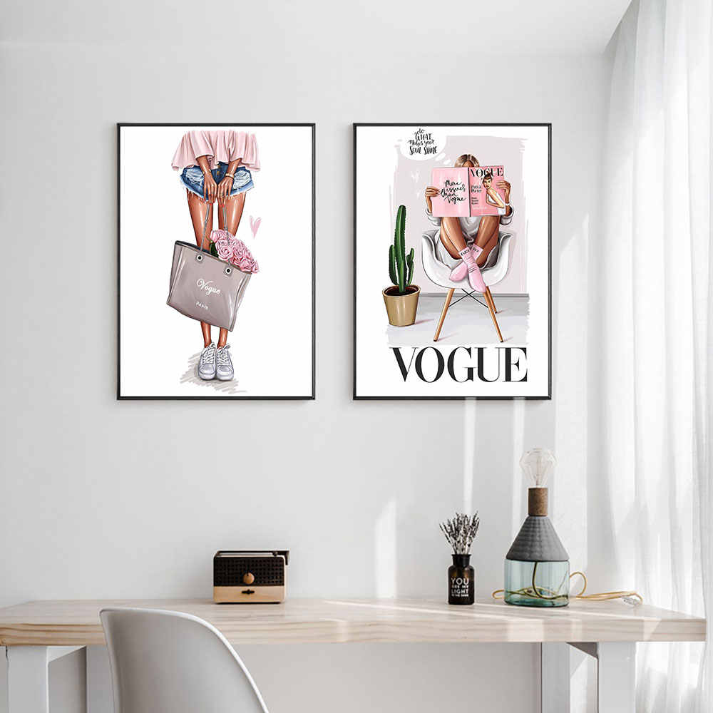 Nordic Wall Art Canvas Poster Vogue Print Fashion Girl with Bag Girl Painting Decoration Picture Living Room Decor Unframed
