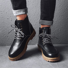 Mens High Top Boots Ankle Dr Martin Booties Fashion Casual Shoes for Men Motorcycle Retro Round Sneakers Man Botas