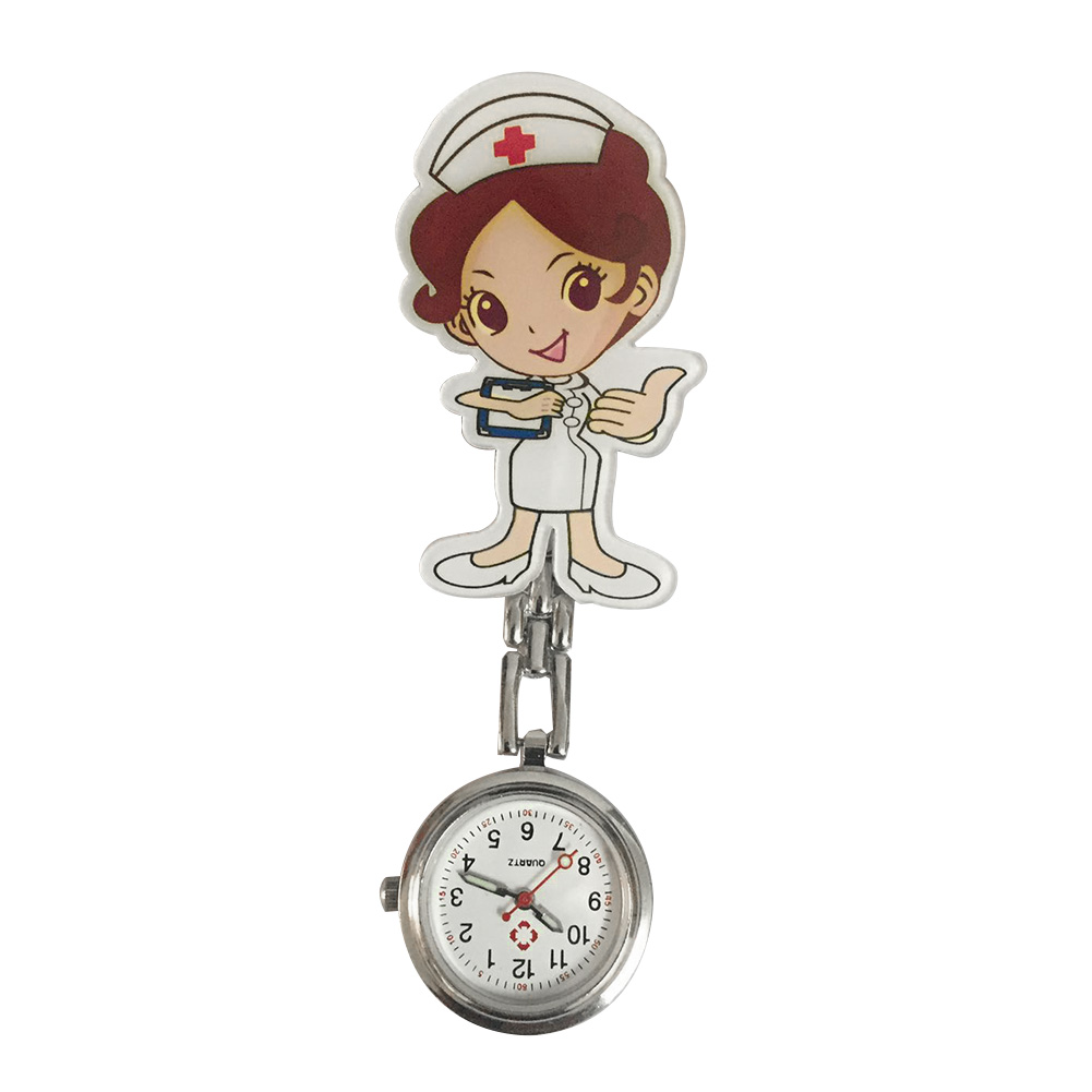 Women Portable Clip Lapel Hanging Fashion Pin Buckle Gift With Link Round Dial Stethoscope Cute Cartoon Quartz Nurse Watches
