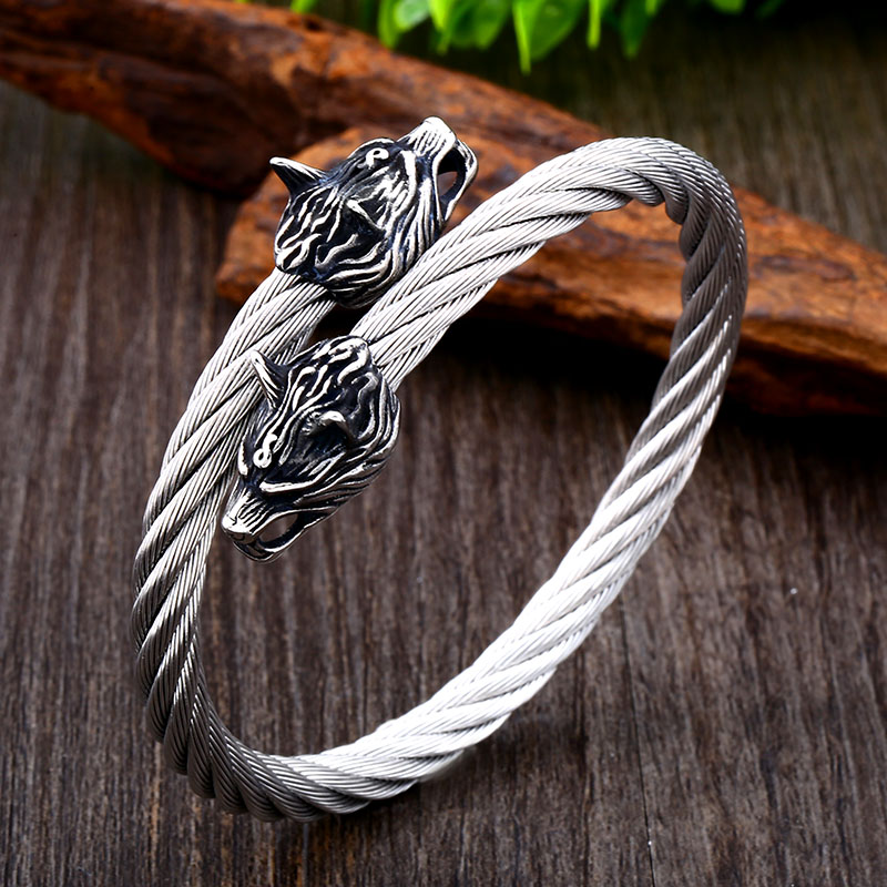 Bracelet acier tête de loup-009G 2