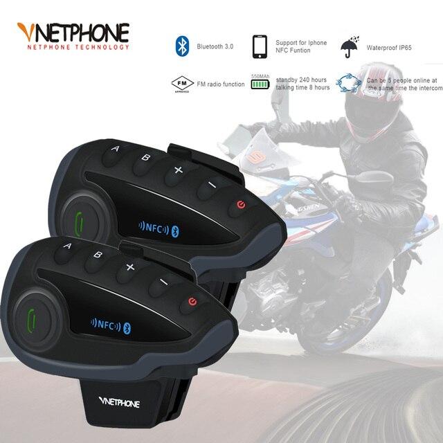 2 pièces VNETPHONE V8 SV interphone sans télécommande 5 voies groupe parler Bluetooth casque de moto casque FM NFC 1.2KM