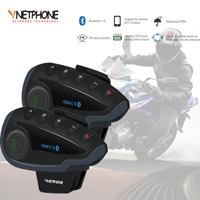 2pcs VNETPHONE V8 SV Intercom without Remote Control 5 Way Group Talk Bluetooth Motorcycle Helmet Headset FM NFC 1.2KM