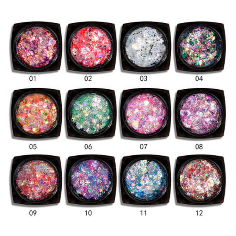 Glitter Poeder Oogmake-up Pailletten Gezicht Glanzend Gel Pigment Flash Hart Ster Cream Rainbow Goud Zilver Roze Mermaid Vlok