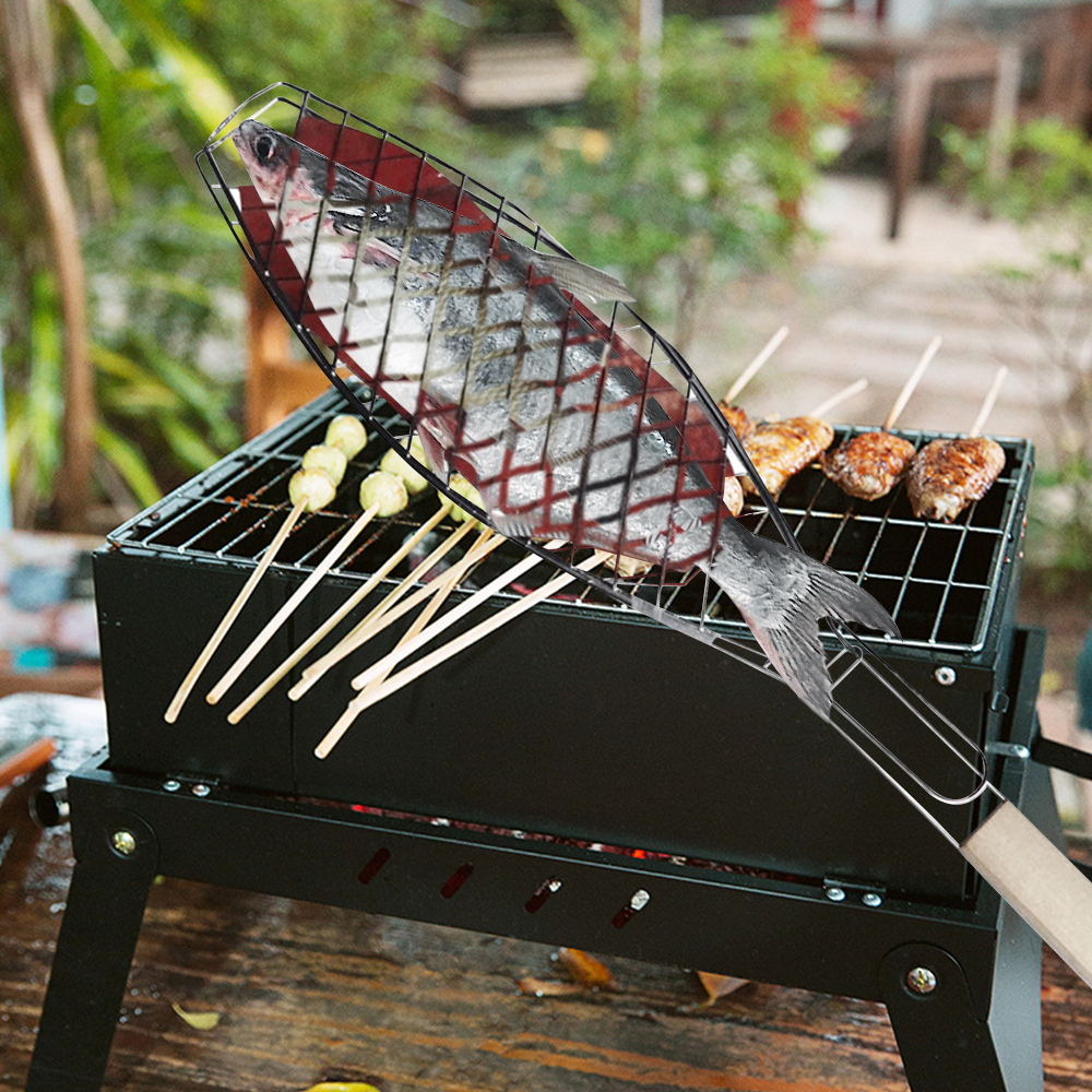 Portable Nonstick Fish Grilling Basket With Handle Chicken Meat BBQ Mesh Clip DIY Barbecue Tool Roasting Accessories Outdoor