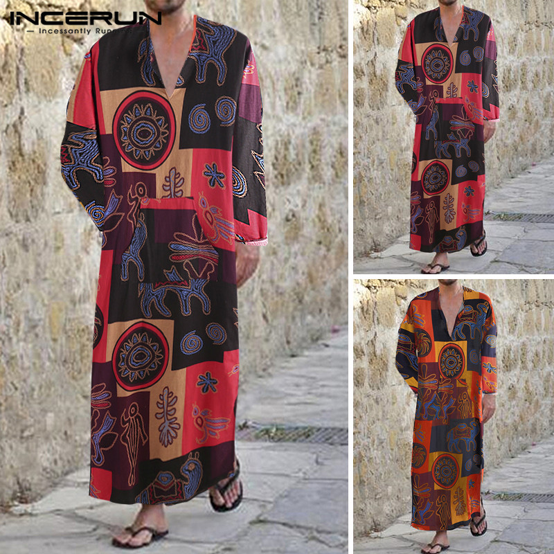 Men Muslim Islamic Kaftan Printed Long Sleeve Cotton V Neck Jubba Thobe Dubai Saudi Arabia Men Robe Abaya INCERUN 2019 Plus Size