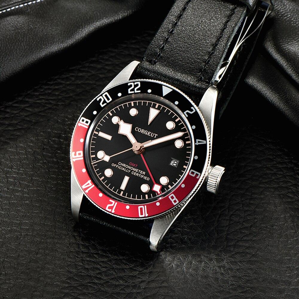 Corgeut Luxus Marke Schwarz Bay GMT Männer Automatische Mechanische Uhr Military Sport Schwimmen Uhr Leder Mechanische Handgelenk Uhren - 4