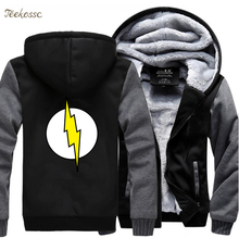 The Big Bang Theory Sheldon Flash Hoodies Sportwear Men 2018 Winter Warm Sweatshirts Thick Male Coat Jackets Tracksuit 5XL