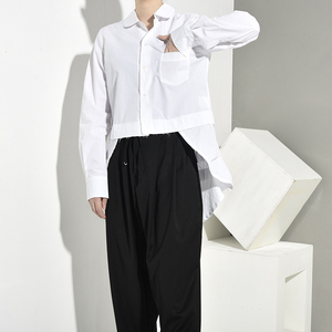 Image 2 - [EAM] Women White Back Long Pleated Asymmetrical Blouse New Lapel Long Sleeve Loose Fit Shirt Fashion Spring Autumn 2020 JR3900