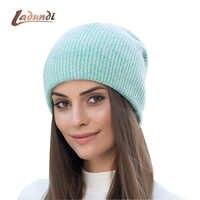 Doux lapin double tricot épais bonnet beanie casquettes solide chaud hiver chapeaux pour femmes casquette skullies bonnets femme chapeau