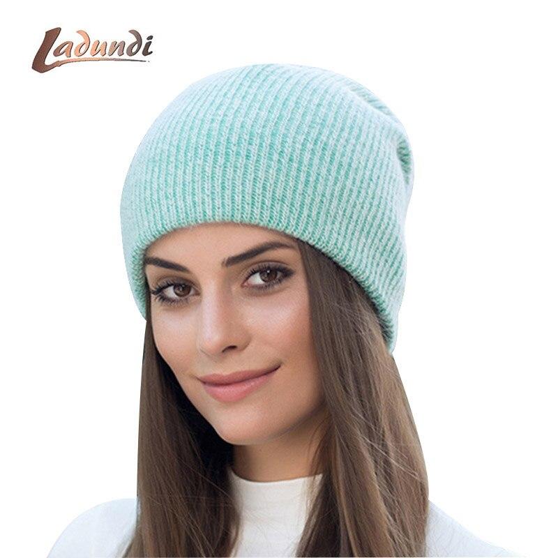 soft rabbit double knitting thick bonnet beanie caps solid warm winter hats for women's cap skullies beanies female hat