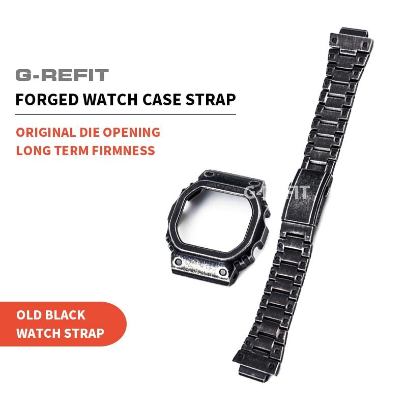 G-refit fazer velho/retro preto dw5600 gwm5610 gw/dw5000 pulseira de relógio/caso gw5035 bezel conjunto 316l aço inoxidável prateado caso bandas