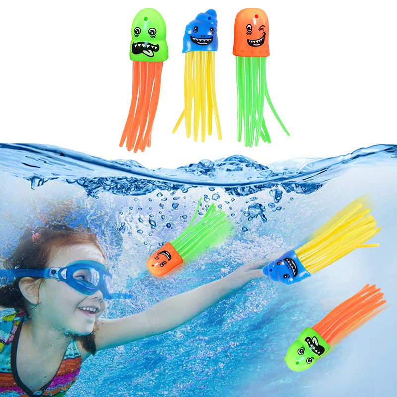 3 Pcs Octopus Pool Diving Kids Toys Octopus Bath Toys Underwater Pool Swimming Pool Accessories With Funny Face For Children