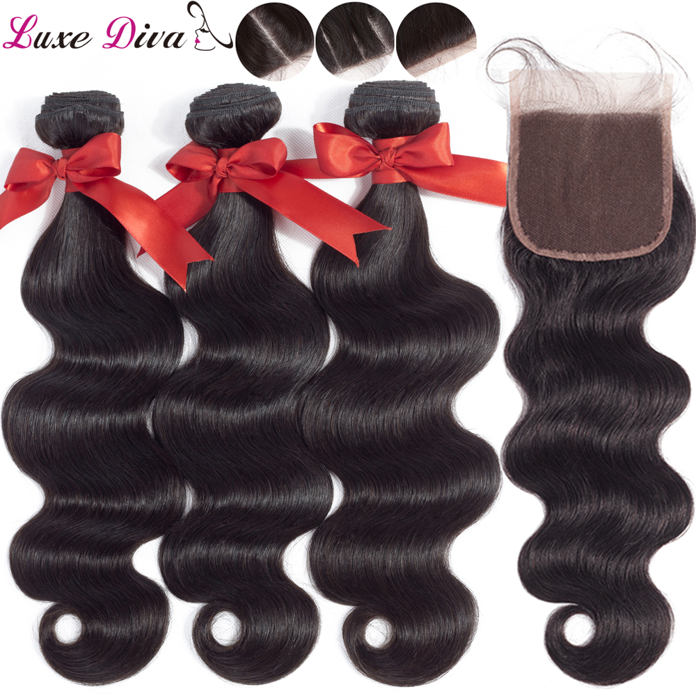 Luxediva Brazilian Hair Body Wave 3 Bundles With Closure Human Hair Bundles With Lace Closure Remy Hair Extensions Preplucked
