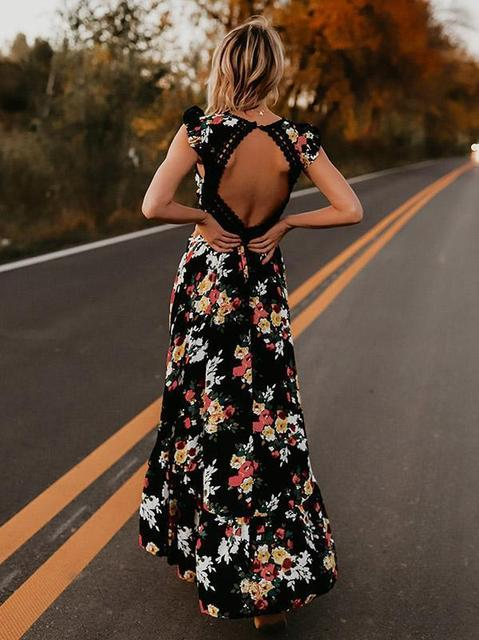 Hot sale Women v-neck short sleeve elegance fitness Summer Vintage Boho Long Maxi Dress Party Beach Dress Floral Sundress 4