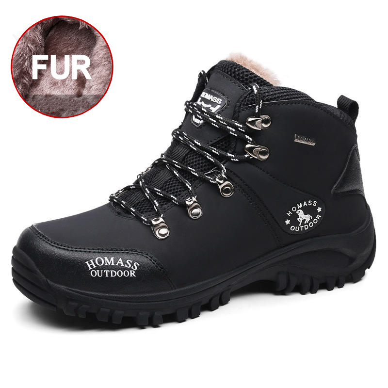 Men Leather Fur Snow Boots Super Warm Short Plush Waterproof Winter Ankle Boots Anti-Skidding Durable Outdoor Hiking Shoes Male