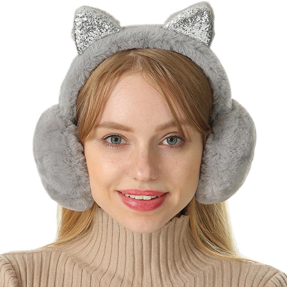 Newly Women Earmuffs Cartoon Cat Ears Windproof Ears Warm Adjustable Earmuffs  Winter Earmuffs