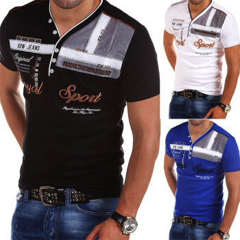 ZOGAA Summer Men Polo Shirt Cotton V-neck Short Sleeve Tops Printed High-quality Male Slim Fit
