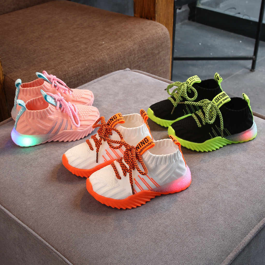 Hot kids shoes Toddler Infant Kids Baby Girls Boys Mesh LED Light Luminous Sport Shoes Sneakers basket enfant garcon#guahao