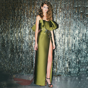 Вечернее платье Русалка без бретелек, без рукавов, с разрезом, с оборками, для выпускного вечера, с вышивкой, атласное, длиной до пола, вечерн