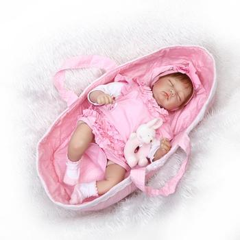 Silicone Baby Doll Reborn Baby Doll Silicona 55cm Soft Body Girl Boys Doll With Basket Brinquedos Reborn Toys For Kids Gifts цена 2017