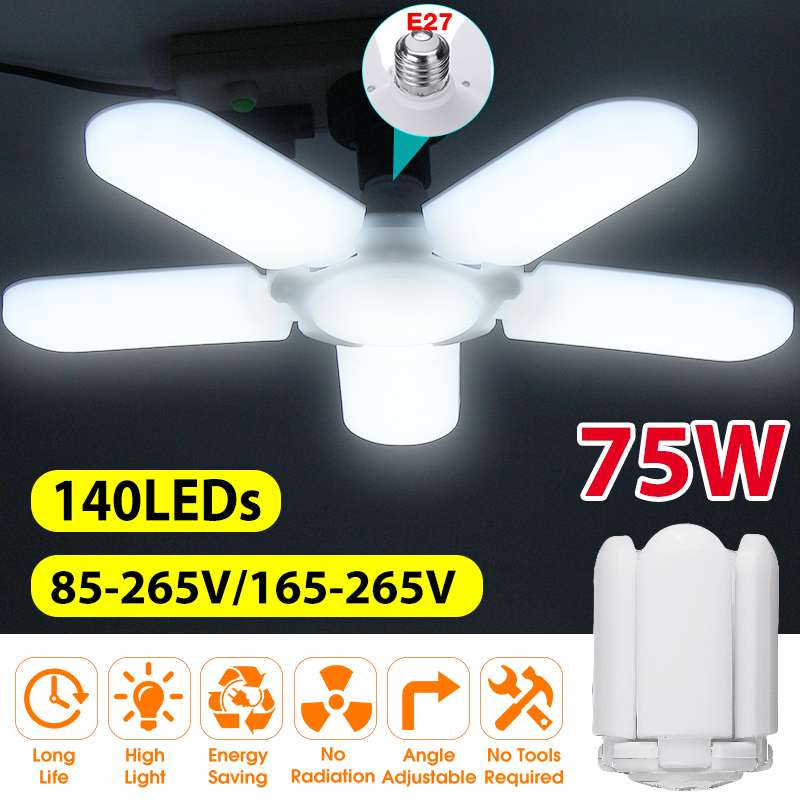 Süper parlak endüstriyel Lighting75W E27 Led fan garaj ışığı 4800LM 85-265V 2835 Led yüksek Bay endüstriyel lamba atölye için
