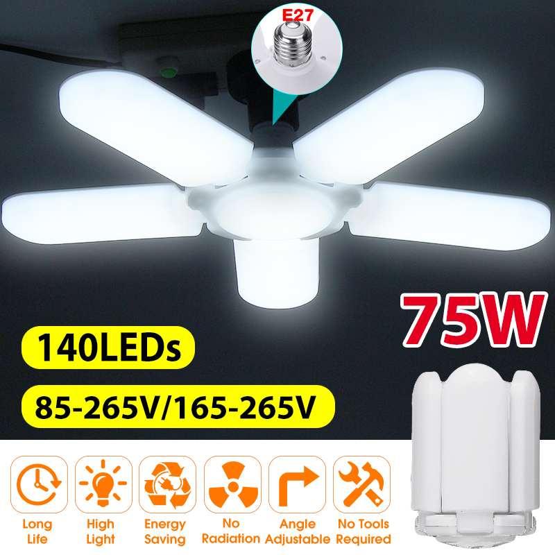 Super jasny przemysłowy Lighting75W E27 wiatrak Led lampa garażowa 4800LM 85-265V 2835 Led, wysoka zatoka lampa przemysłowa do warsztatu