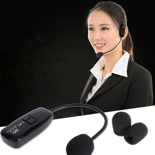 2.4G sans fil Microphone discours casque mégaphone voix amplificateur discours mains libres mégaphone Radio micro pour Guide touristique enseigner