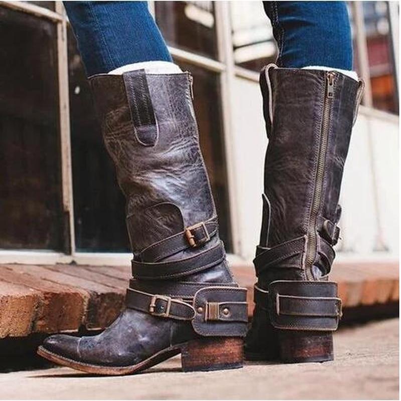 LZJ Phụ Nữ Mới Đầu Gối Cao Cấp Giày Da Thật Chính Hãng Da Thu đông 6.5cm Giày Cao Gót Giày Gợi Cảm Đảng Cưới Thương Hiệu giày Nữ