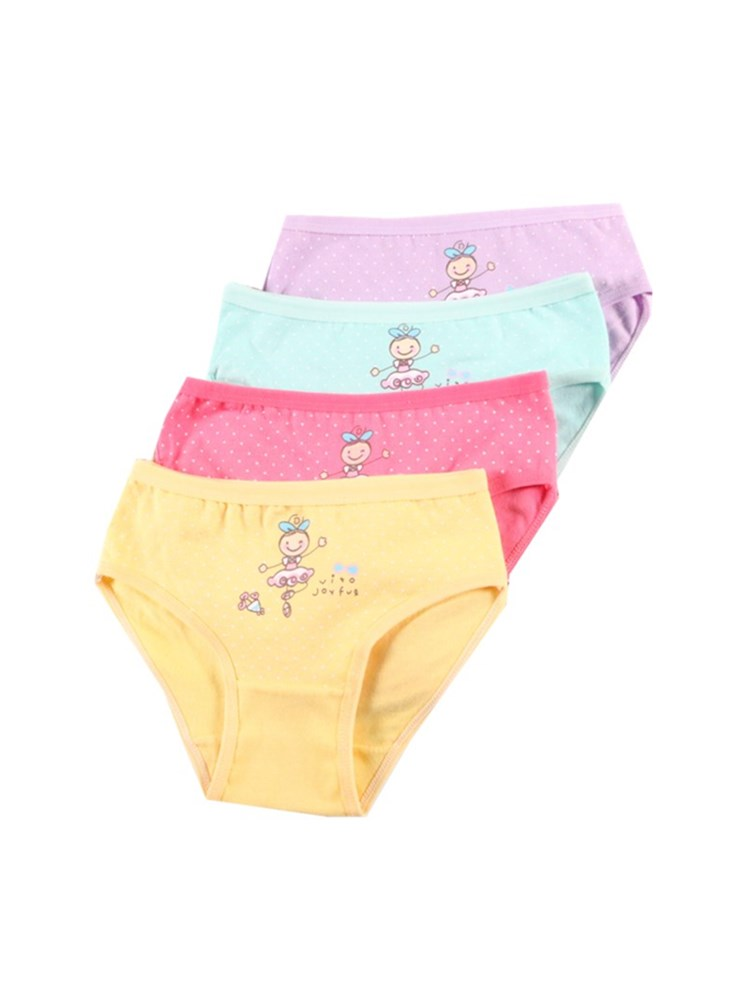 4Pc/Lot Girls Briefs Kids Underwear Panties Triangle Pants Suitable for 2-10 Years