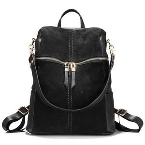Image 2 - Vintage brand women backpack nubuck leather PU school backpacks for teenage girls large capacity shoulder bags for women 2019