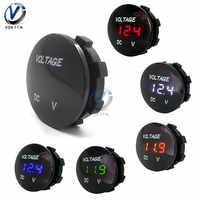 DC 5V-48V 3 Bits Digital Voltmeter Round Waterproof LED Panel Mini Digital Volt Voltage Meter Tester Monitor Display Voltmeter