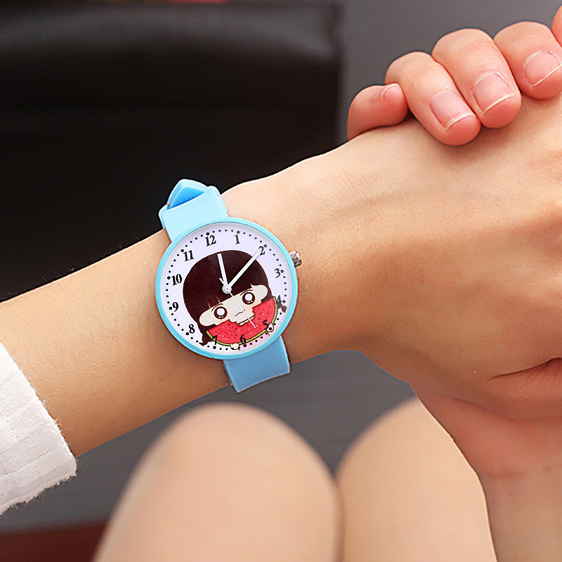 New Kids Watches Girl Eating Watermelon Dial Children Quartz Watch Girls Learn To Time Electronic Clock 3 Hands Christmas Gift