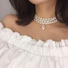 Colar personalizado e versátil com miçangas, colar com pingente geométrico, simples, multicamada, de forma especial, colar de pérolas feminino