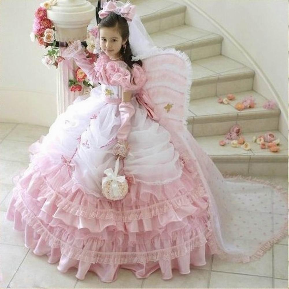 Most Popular Long Sleeve Ball Gown Floor Length Butterfly Princess Flower Girl Dress For Wedding