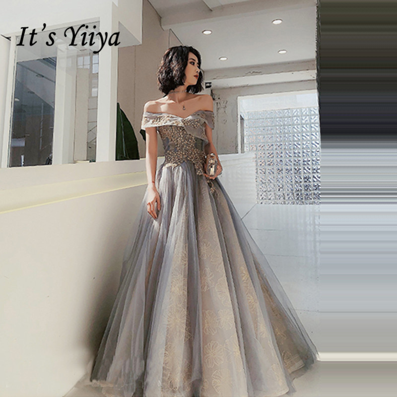 It's Yiiya Formal Dress Boat Neck Sequined Floor-Length Evening Dress 2020 Short Sleeve Off The Shoulder Dress Woman Party K336