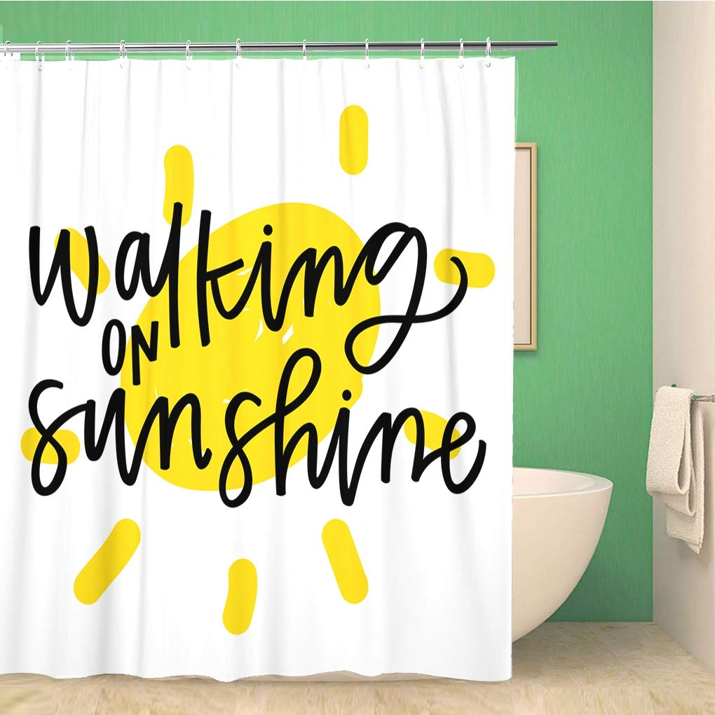 bathroom shower curtain yellow summer walking on sunshine quote mind script bright 72x78 inches waterproof bath curtain set with