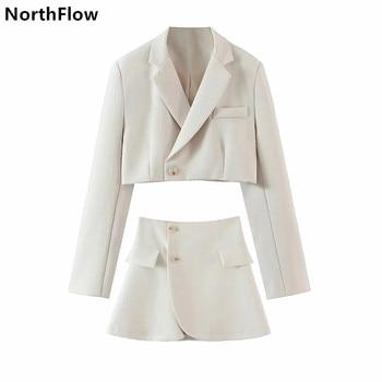 Northflow Matching Set Blazer And Skirts Women England style Navel Exposed Short Empire Blazer Feminino Femme Two Piece Set 1