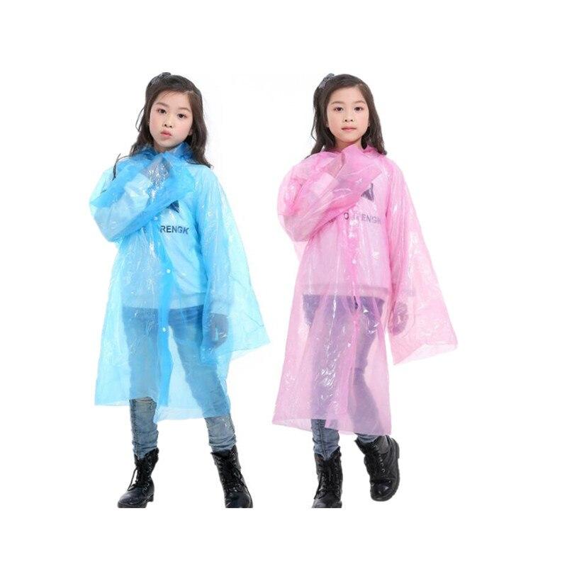 1 Pcs Disposable Children Waterproof Raincoat Student Thick Transparent Poncho Hoodie Raincoat Set