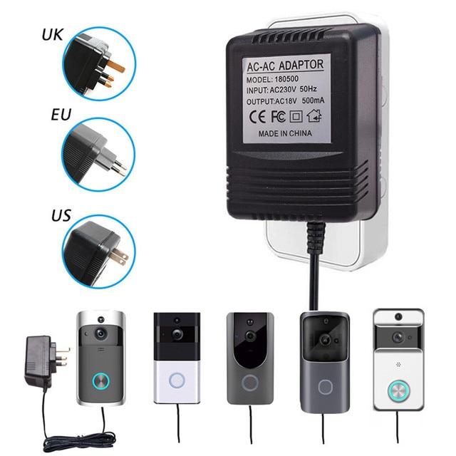 Адаптер питания для беспроводного видеодомофона с Wi Fi, штепсельная вилка стандарта США, Великобритании, 18 в, трансформатор переменного тока, зарядное устройство, IP, видеодомофон 110 240 В