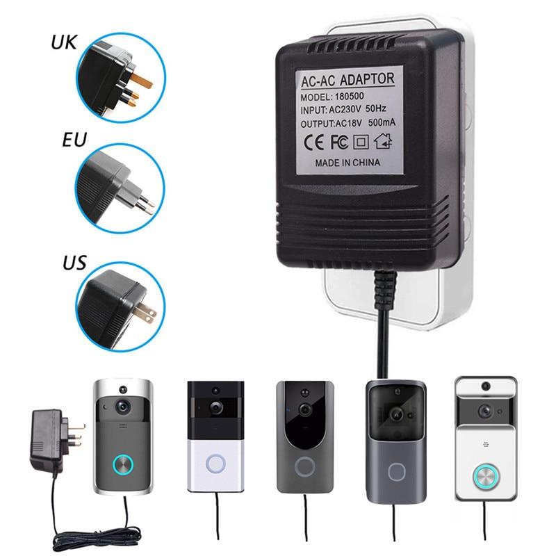 For Wifi Wireless Video Doorbell Camera Power Adapter US UK EU Plug 18V AC Transformer Charger IP Video Intercom Ring 110V-240V