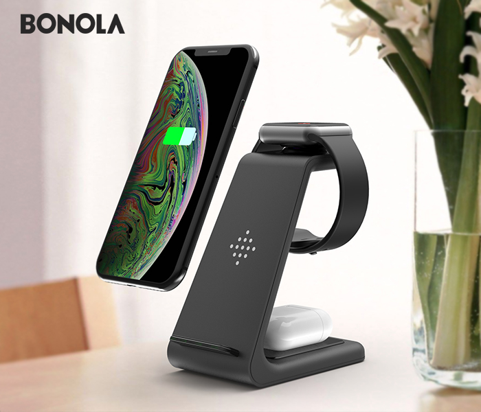 Bonola 3 in1 Wireless Charger For iPhone 11Xs AirPods Apple Watch 23 Wireless Charging Stand for iWatch iPhone 11ProXrXs Max (1)