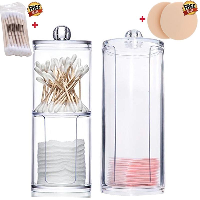 Two-in-one Cosmetic Storage Box Transparent Cotton Swab Cotton Pad Organizer Plastic Box Organizad Orrangement Home Bathroom