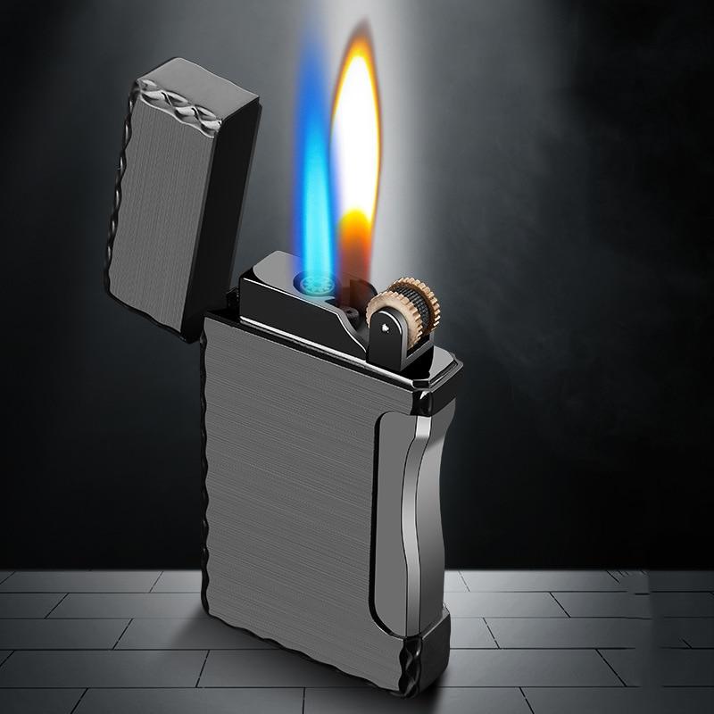2 In 1 Cigarette Lighter Torch Lighter 1 Jet Butane Gas Cigar Windproof Metal Pocket Lighter For Kitchen Blue Flame  GL018