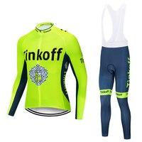 Spor ve Eğlence'ten Bisiklet Takımları'de 2019 Tinkoff uzun kollu bisiklet giyim seti NW Pro team Jersey erkek takım elbise nefes açık sportif bisiklet MTB giyim yastıklı