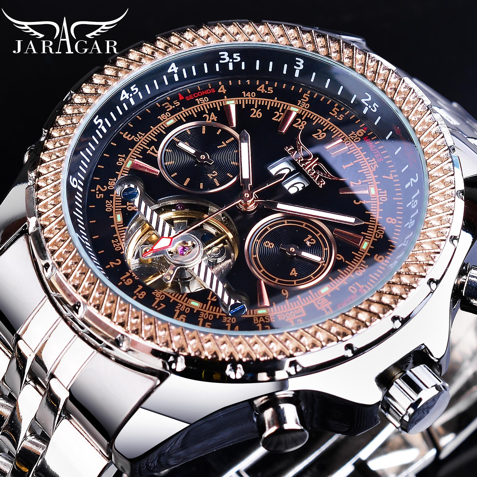 Jaragar Silver Steel Mens Business Tourbillion Calendar Display Luminours Hands Men Automatic Wrist Watch Top Brand Luxury Clock