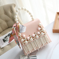 Women Pearl Totes Pink Luxury Flower Shoulder Messenger Bags Women Leather Lace Handbag Bride Wedding Crystal Evening Party Bags