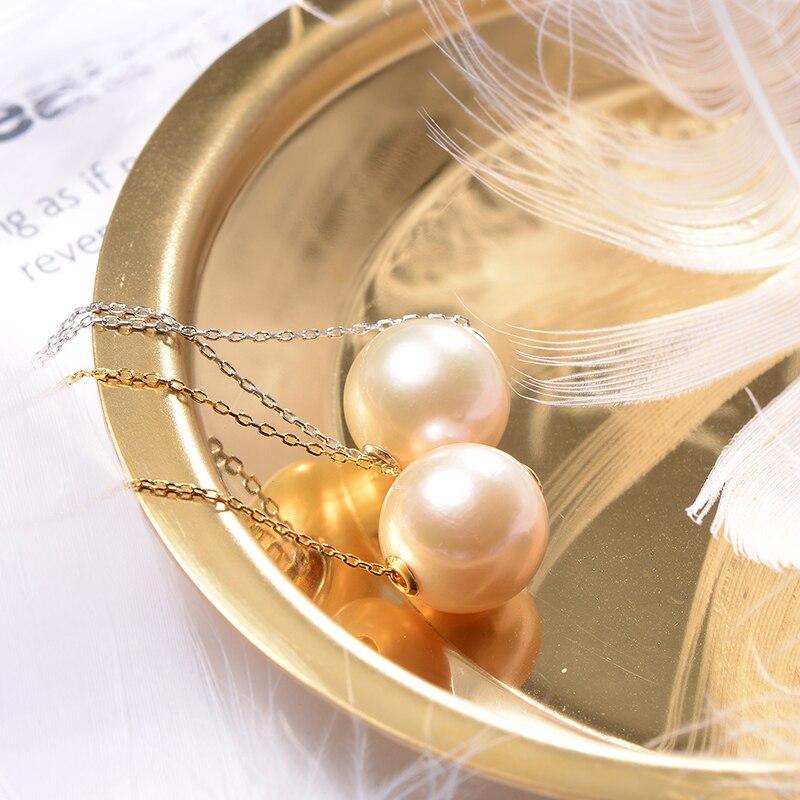 Perle d'eau douce perles suspendues collier Simple rond rose violet 11-12mm perle unique Edison perle pour cadeau de petite amie