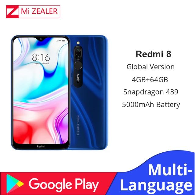 2019 Global Versie Xiao Redmi 8 Smartphone 4GB RAM 64GB ROM Snapdragon 439 10W Snel Opladen 5000 mah Batterij Mobiele Telefoon