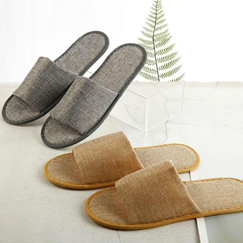 Hotel Travel Disposable Breathable Linen Slippers Flip Flop Household Slipper H
